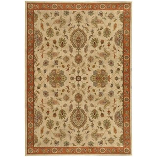 Traditional Floral Beige/ Rust Rug (5'3 X 7'6)