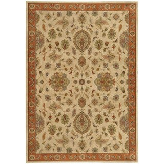 Traditional Floral Beige/ Rust Rug (6'7 X 9'6)