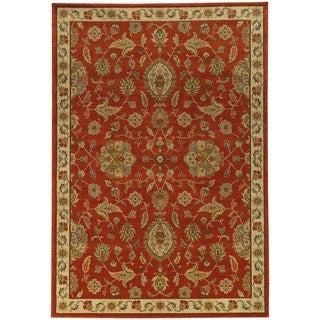 Traditional Floral Red/ Beige Rug (6'7 X 9'6)
