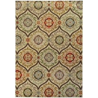 Floral Panel Lattice Beige/ Blue Rug (5'3 X 7'6)
