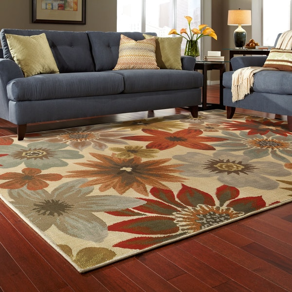 Large Scale Floral Beige/ Blue Rug (9'10 X 12'10)