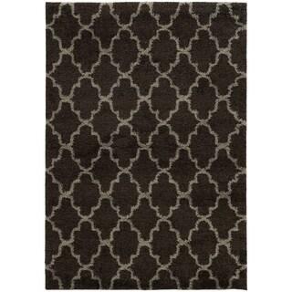 Scalloped Lattice Shag Midnight/ Grey Rug (5'3 X 7'6)