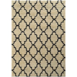 Scalloped Lattice Shag Ivory/ Midnight Rug (5'3 X 7'6)
