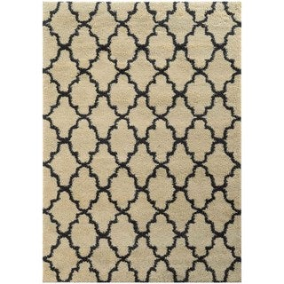 Scalloped Lattice Shag Ivory/ Midnight Rug (6'7 X 9'6)