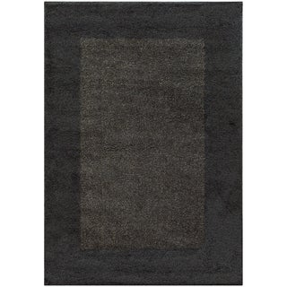 Two-tone Border Shag Midnight/ Grey Rug (6'7 X 9'6)