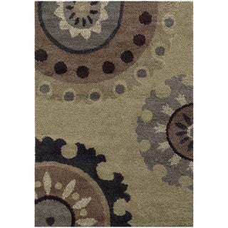 Overscale Floral Shag Beige/ Midnight Rug (5'3 X 7'6)