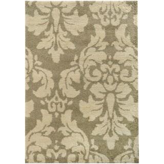 Damask Floral Shag Ivory/ Beige Rug (6'7 X 9'6)