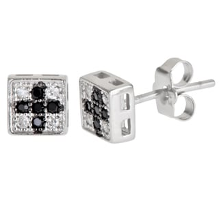 Sterling Silver Black/ White Micropave Cross Cubic Zirconia Square Stud Earrings