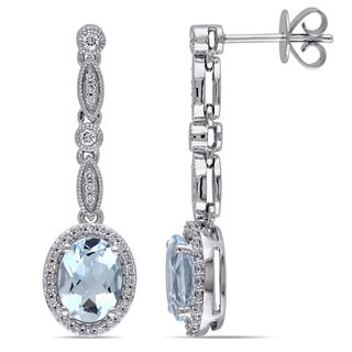 Miadora 14k White Gold Aquamarine and 1/3ct TDW Diamond Earrings (G-H, SI1-SI2)