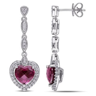 Miadora 14k White Gold 3/8ct TDW Diamond Rhodolite Heart Earrings (G-H, SI1-SI2)