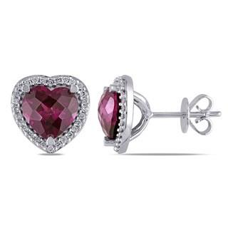 Miadora 14k White Gold Rhodolite and 1/5ct TDW Diamond Heart Earrings (G-H, SI1-SI2)