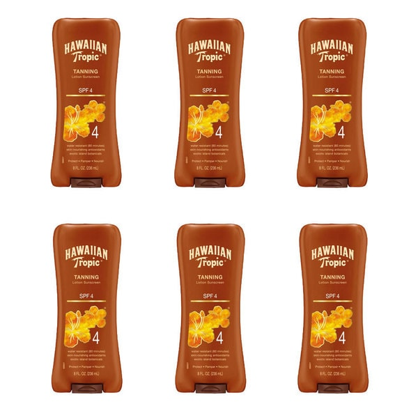 Hawaiian Tropic Sun Tanning 8-ounce SPF 4 Sunscreen Lotion (Pack of 6)