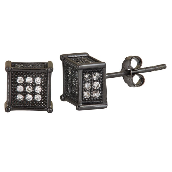 Black Sterling Silver White Cubic Zirconia Square Micropave Stud Earrings