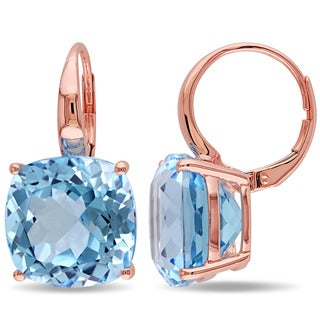 Miadora 14k Rose Gold Blue Topaz Dangle Earrings