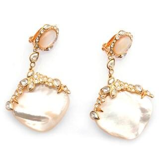 De Buman 18k Yellow Goldplated Mother of Pearl Earrings