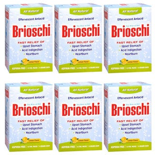 Brioschi Effervescent Antacid 12 Foil Packs (Pack of 6)