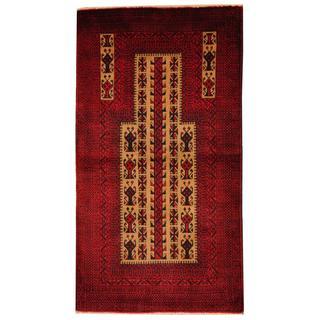 Herat Oriental Semi-antique Afghan Hand-knotted Tribal Balouchi Beige/ Navy Wool Rug (2'9 x 5)