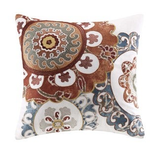Harbor House Belcourt Brick Cotton Square Throw Pillow with Embroidery