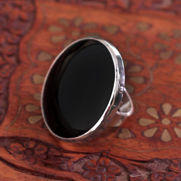 Handcrafted Silver 'New Moon over Taxco' Obsidian Ring (Mexico) 14653053