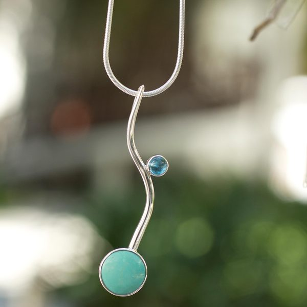 Silver 'Taxco Eclipse' Turquoise and Topaz Necklace (Mexico)