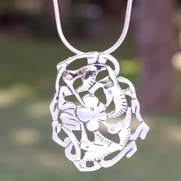 Handcrafted Sterling Silver 'Hummingbird's Nectar' Necklace (Mexico)