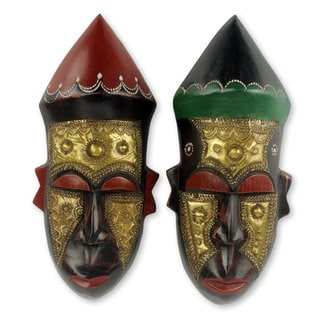 Set of Two Handcrafted See Wood 'Akan Chief I' African Masks (Ghana)