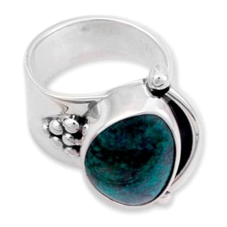 Handcrafted Silver 'Taxco Mystique' Chrysocolla Ring (Mexico)