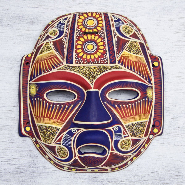 Handcrafted Ceramic 'Golden Olmec Lord' Mask (Mexico)