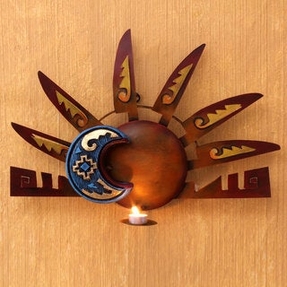 Handcrafted Iron 'Aztec Eclipse' Wall Candleholder (Mexico)