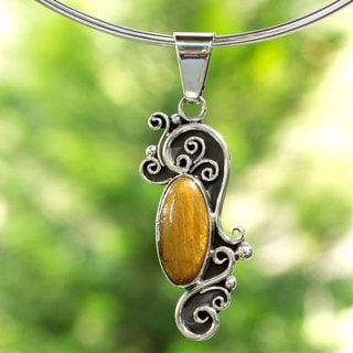 Sterling Silver 'Nahuatl Paths' Tiger's Eye Choker (Mexico)