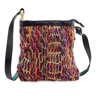 Cotton Leather Accent 'Crimson Rhapsody' Shoulder Bag (Guatemala)