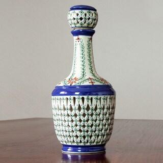 Handcrafted Ceramic 'Orange Tequila Garden' Liqueur Bottle (Mexico)