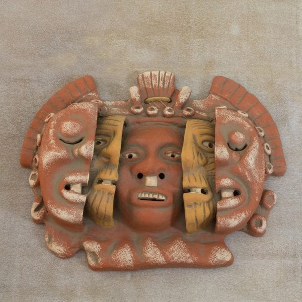 Handcrafted Ceramic 'Three Ages of Man' Mask (Mexico)