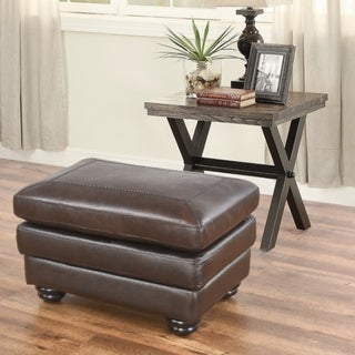 Abbyson Living Bradford Premium Top Grain Leather Ottoman