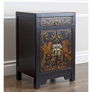 ABBYSON LIVING Black and Gold Antique Asian Songbird Side Table