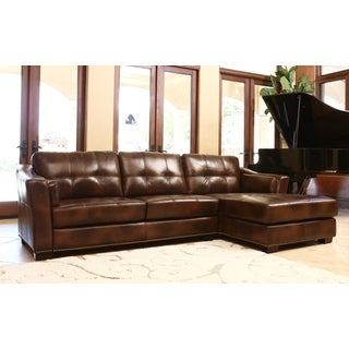 ABBYSON LIVING Larena Brown Top Grain Leather Sectional