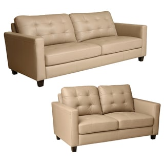 ABBYSON LIVING Leona Stone Beige Top Grain Leather Sofa and Loveseat