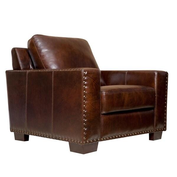 ABBYSON LIVING Barrington Hand-rubbed Top Grain Leather ...