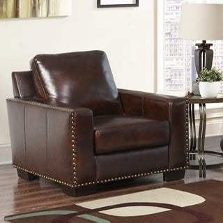 ABBYSON LIVING Barrington Hand-rubbed Top Grain Leather Armchair