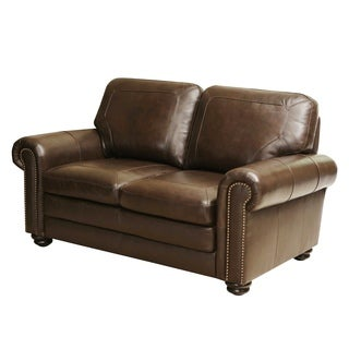 Abbyson Living Bradford Top Grain Leather Loveseat