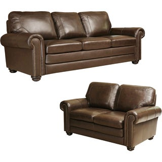 Abbyson Living Bradford Top Grain Leather Sofa and Loveseat
