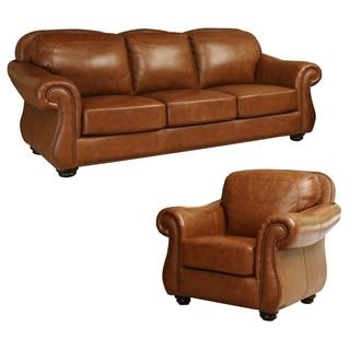 Abbyson Living Arizona Top Grain Leather Sofa and Armchair Set