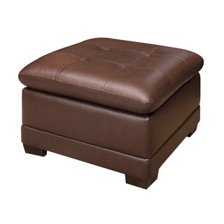 ABBYSON LIVING Cooper Top Grain Leather Ottoman
