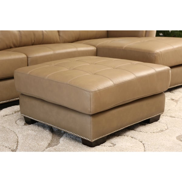 ABBYSON LIVING Ariella Top Grain Leather Ottoman
