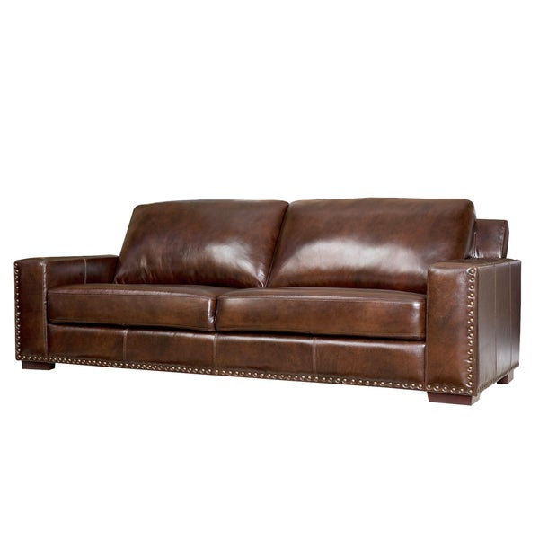 Abbyson living barrington hand rubbed top grain leather sofa for Canape oxford honey leather sofa