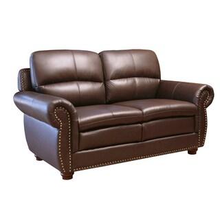 ABBYSON LIVING Laguna Top-grain Dark Brown Leather Loveseat