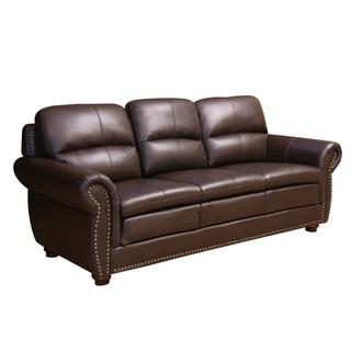 ABBYSON LIVING Laguna Top-grain Dark Brown Leather Sofa