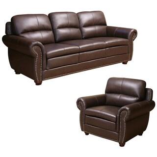 ABBYSON LIVING Laguna Top-grain Dark Brown Leather Sofa and Armchair