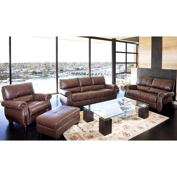Abbyson Living Ashley Premium Top Grain Leather 4 Piece Sofa Loveseat Armchair And Ottoman Set
