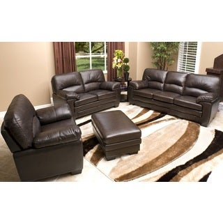 Abbyson Living Charleston 4-piece Premium Top-grain Leather Sofa, Loveseat, Armchair, and Ottoman Set